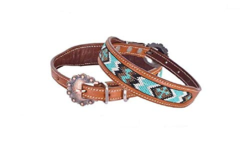 (Showman Couture Small Turquoise White Chevron Cross Beaded Leather Adjustable Dog Collar )