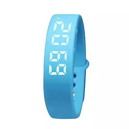 Digital Damen Herren Smart Watch Smart-Armband Fitness-Armband mit 3D-Pedometer Schritt Distanz Thermometer Alarm Sportlich Cool Hellblau