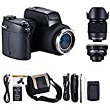MMUSC Digital Camera, MMUSC 33MP Digital SLR Camera with Wide Angel Lens + Telephotos Lens + Flash + LED Spotlight, 24x Optical Zoom and 1080p Full HD Video Commander Starter Kit(D7200)