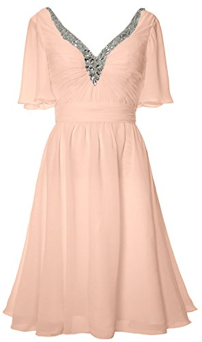 V Short Neck Mother Gown Dress Formal Bellini Evening Bride MACloth Women of Sleeves 0qSS5O