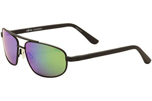 Revo Nash RE 1013 01 GN Polarized Aviator Sunglasses, Satin Black/Green Water/ Plastic Lens,  61 mm (Satin Polarized Sunglasses)