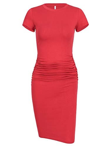 - Laughido Women's Casual Round Neck Sheath Knee Length Ruched Bodycon Dress (Short Sleeve Watermelon Red, X-Small)