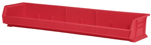 Akro-Mils 30320 8-Inch by 33-Inch by 5-Inch Wide Plastic Storage Stacking Akro Bin, Red, Case of 4 by Akro-Mils