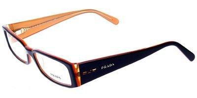 Prada Glasses 10FV 2BX101 Black and Orange 10Fv Rectangle Sunglasses - Prada Rectangle Sunglasses