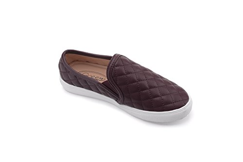 Mila Lady (WANDA) Frauen Leinwand Heftige Quilt Muster Slip On Fashion Sneakers, Wein