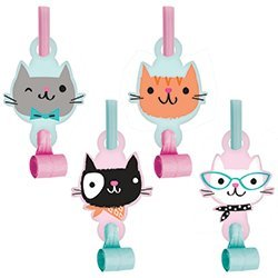 SG/_B074F2BD64/_US Purr-fect Cat Party Favor Supply Pack Including Tiaras Favor Boxes /& Blowouts for 16 Guests Creative Converting Inc