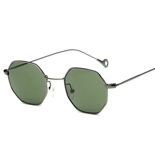 Lulujan Square Polarized Sunglasses Classic Flat Lenses Metal Frame Round Hexagon Glasses Outdoor Indoor Gift for Men Women (1-Pack, Gray Frame &Green - Hut Long Sunglass Beach