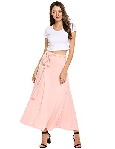 Zeagoo Womens Skirts Boho Maxi Solid Wrap Around Bow Tie Skirt Pink S