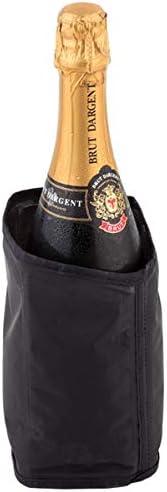 tissu nylon hydrofuge /Ø 11 cm H : 18 cm noir refroidisseur de bouteilles de champagne et de vin mousseux paquet de 2 brassards r/éfrig/érants Buddys Bar refroidisseur de vin