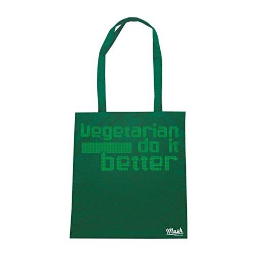 Borsa Vegetarian Do It Better - Verde Bottiglia - Funny by Mush Dress Your Style