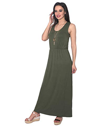 Womens Boho Maxi Summer Long Dresses Sleeveless High Waist, Green, X-Large, 3288-KHA-14