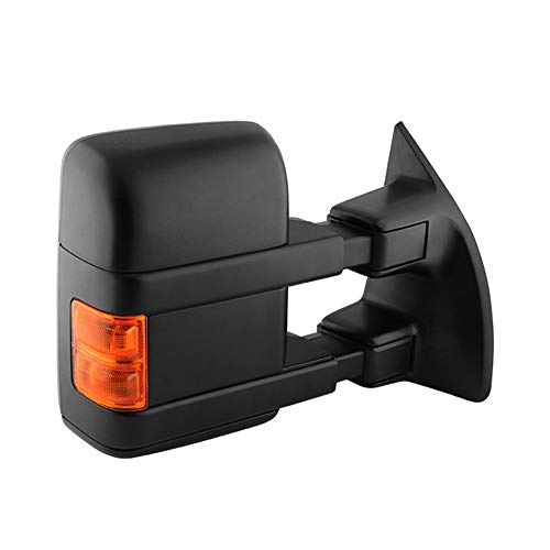 VIPMOTOZ Heated Power Remote Passenger Side Right View Telescopic Turn Signal Exterior Towing Mirror & Glass Replacement For 2008-2016 Ford Superduty F-250 F-350 F-450 F-550 Pickup Truck