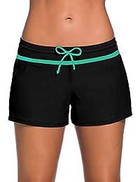 847b136b2b0 Womens Side Split Waistband Swim Shorts with Panty Liner Plus Size S - 3XL