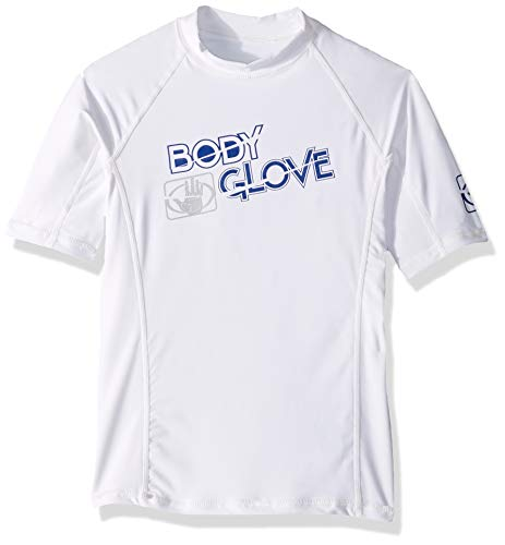 Body Glove Boys s/a Fitted Basic Rashguards, White, 8