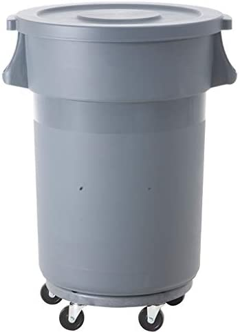 80Lプラスチックプーリー大型屋外ゴミ箱は厚い産業を回すことができます (Color : Gray)