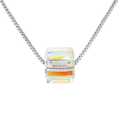 - Houlife Square Cube Crystal Pendant Necklace with Shiny Aurora Color Platinum Plated Brass Simple Jewelry for Women Girls with Spring Ring Clasp