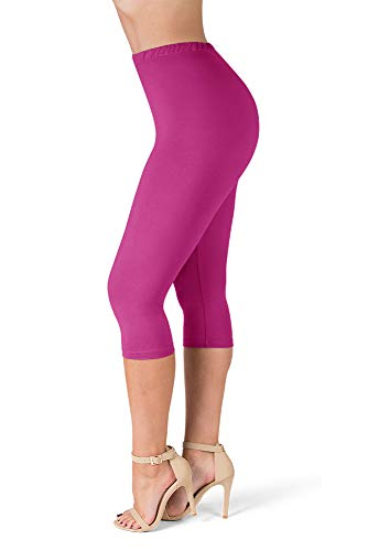 - SATINA High Waisted Ultra Soft Capris Leggings - 20 Colors - Reg & Plus Size (One Size, Fuchsia)