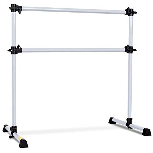 GOFLAME Ballet Barre Portable Double Freestanding Ballet Barre Adjustable Portable Heavy Duty Dancing Stretching Ballet for Home,Dance Barre, Fitness Ballet Bar (Silver)