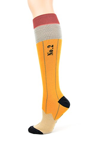 Foot Traffic - Women's Pencil Knee High Yellow/Black Socks,Fits shoe sizes 4-10