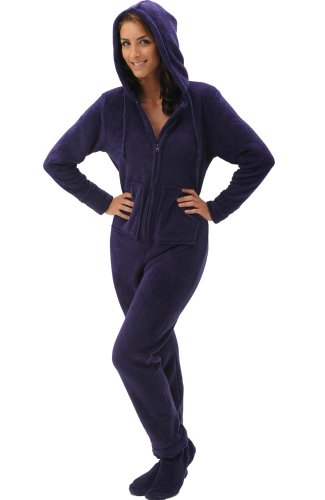 - Alexander Del Rossa Womens Fleece Onesie, Hooded Footed Jumpsuit Pajamas, Small Deep Purple (A0322DPUSM)