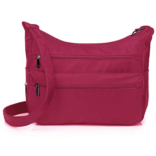 Lightweight Shoulder Bags for Women, Messenger Purses and Handbags Multi Pocket Nylon Waterproof Crossbody Bags Travel (Standard Size, Hotpink)