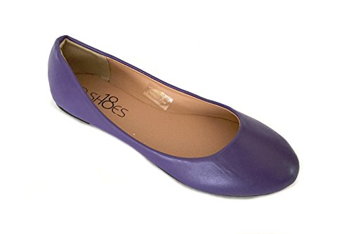 Shoes 18 Womens Ballerina Ballet Flat Shoes Solids & Leopards (9, Purple PU 8600) ()