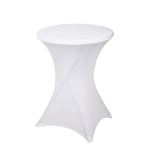 Awillhome 32 Inch /24 Inch Spandex Cocktail Tablecloth Fitted Table Cover Fit Round Folding Table Dry Bar Bistro Table Cover (32inx43in, White) 1 PC