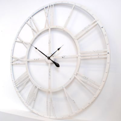 Large Wall Clock with Roman White Skeleton 114 cm Diameter Amazon