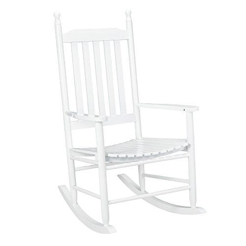 [casa.pro] Schaukelstuhl Weiß aus Massiv-Holz - Hochwertiger Relax-Stuhl mit Armlehne zur Entspannung oder als Still-Stuhl - Schwing-Sessel Schaukel-Sessel für Wohnzimmer Küche Balkon Garten