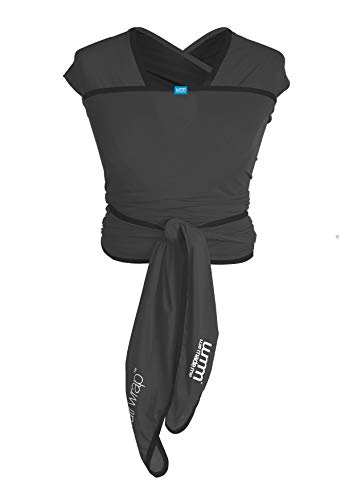 We Made Me Flow Active Baby Wrap Carrier from 8-35lbs, Adjustable Flexible Fabric, Breathable, and Light, Charcoal Grey