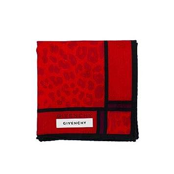 fc7dd9afd9a Givenchy  Écharpe Rouge avec imprimé léopard Rouge et Noir Bordure ...