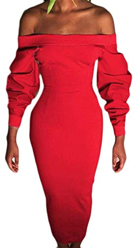 Chyedas Rosso women Shoulder Off Bodycon Pencil Dress Clothes Pure Club Women's Sexy Unko Color Uninukoo fgvYyb76