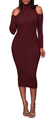 Rib Sweater Dress (Corala Women's Long Sleeve Cold Shoulder Rib Knit Turtleneck Sweater Bodycon Midi Dress,Red,X-Large)