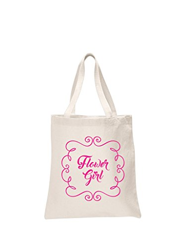 Flower Girl Bags - Flower Girl Natural Bridal Pink Printed Wedding Favour Tote Bags brides hen party gift bags