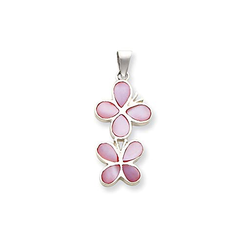 (Sterling Silver Polished Flat back Pink Shell Double Butterfly Pendant)