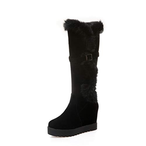 Calf Boots Round Toe Rubber Sole Slip On Short Plush Comfortable Winter Snow Shoes ()
