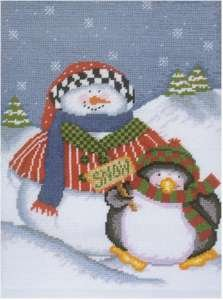 - DMC Needlepoint Canvas Collection - Snowman and Penguin 7