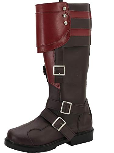 GOTEDDY Halloween Cosplay Knee High Boots Zipper Leather Low Heel Riding Shoes -