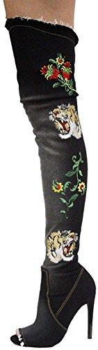 Cape Robbins Elnora-96 Kvinnor Över Knäet Broderade Stövlar Svart
