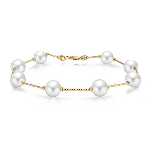 14K Real Yellow Gold Bar Link Tin Cup White Freshwater Cultured Pearl 7.5MM Bracelet For Women 7In
