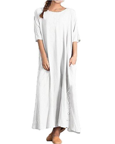 Robe Large Poches Kidsform Casual Blanc Tunique avec Longue Courtes Taille Grande Manches Femme Et AdUZdq