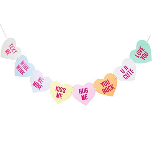 Bobee Conversation Candy Heart Banner, eight hearts pre-strung banner, six feet long