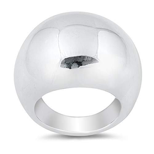 (CloseoutWarehouse High Polished Sterling Silver Round Shiny Dome Ring Size 10 )
