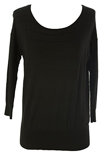 August Silk Women's Knit 3/4 Sleeve Sweater Small Black ()