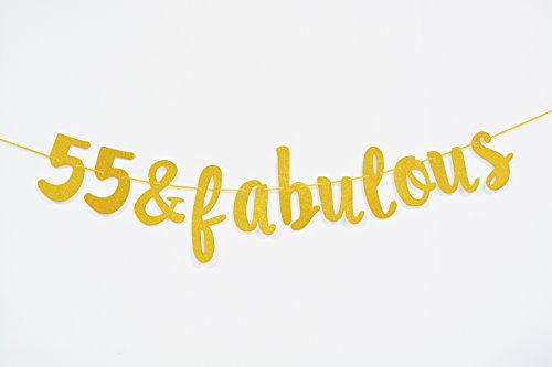 Firefairy™ 55 & Fabulous Cursive Banner- Happy 55th Birthday Anniversary Party Supplies, Ideas and (Birthday Party Idea)