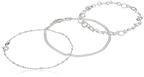 Bismarck Chain - Sterling Silver Set of Three Bismarck, Flat Open-Oval and Thin Twisted Bar Chain Bracelets, 7