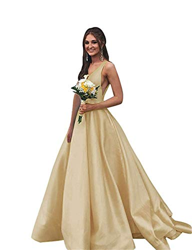 Junior's V Neck Prom Dresses with Pockets Simple A-line Satin Floor-Length Bridesmaid Dress Champagne,10