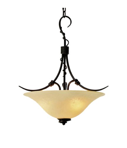 (Marquis Lighting 2704-180-GB Traditional Styled 3 Light Pendants with Beige Scavo Glass Shades Finish, Golden)