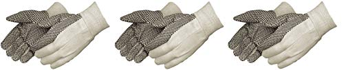 Liberty 4505A 10 oz Cotton Canvas Men's Glove with Black PVC Dots On Palm (3 X Pack of 12)