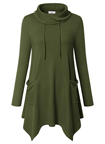 (Bulotus Women's Long Sleeve Cowl Neck Asymmetrical Hem Tunic Tops with Pockets,Green,Small)